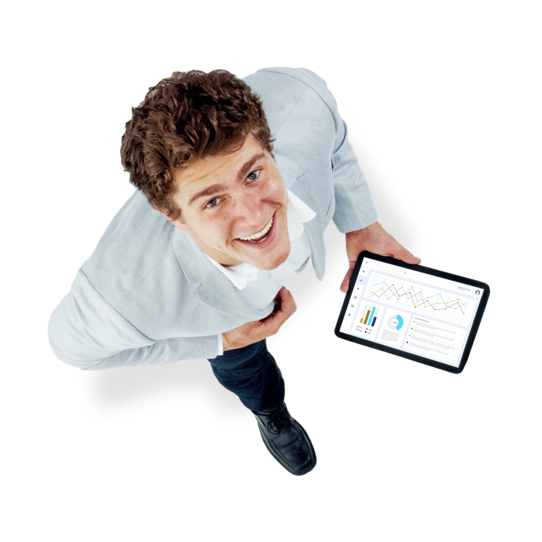 Male employee holding tablet smiling